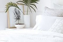 Shades of White Bedding / Decorate a bedroom with shades of white bedding to create a stylish and serene retreat you'll be thrilled to call home. It is a perfect shade to add the finishing touch to any bedroom.