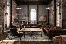 Industrial and Vintage inspired / Find more at LivingSpaces.com.