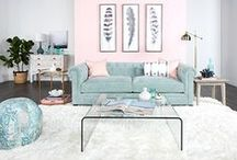 2016 Pantone Color of the Year / 2016 is all about soft pinks and blues in honor of Pantone's Colors of the Year, Rose Quartz and Serenity. Decorate your space with these beautiful tones and other complimentary hues!