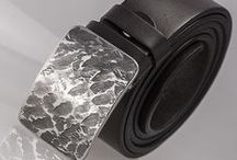 Belts + Buckles by KREDUM / Leather belts and handmade buckles made of stainless steel or damascus steel Damasteel