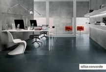 * Room ideas | concrete/resin look / Brushed cement raises itself to the status of an evolved design finish thanks to the extraordinary richness in surface motifs and the technical features of Atlas Concorde top quality ceramics.