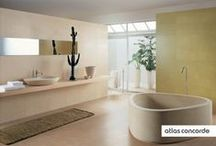 Concrete&Color walls | Home Design | Atlas Concorde / View. The texture is inspired by brush-applied concrete and resin finishes. View therefore offers a range of possibilities from minimalist decors up to vibrant bathrooms with bright colours.