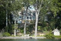 Lakeside / Cottages nestled among trees, docks at lakefront homes ~ the lake is a great place to be / by Martha Charchenko