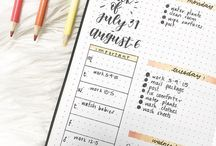 Bullet Journal / Simple, minimal organisation system. Bullet journal layouts, ideas and inspiration. Daily log and future log ideas. How to start bullet journaling. Drawing in the Bullet Journal. Moleskine and Leuchtturm notebooks.