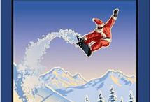 Holiday Illustrations / Illustrations by Paul Leighton of Santa in the Cascade Mountains