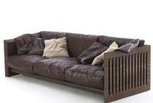 Sofa leather wood, fabric
