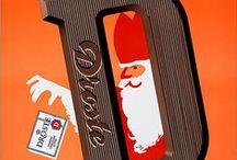 Droste / DROSTE verzamwling en gepinde  chocoladeletters / doosjes advertenties