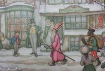 Anton Pieck / Anton Pieck was een zeer groot liefhebber van Sinterklaas. Hij heeft in diverse prenten gemaakt met daarin Sinterklaas en Zwarte Piet. Ook zijn er prenten met Sinterklaas kenmerken zoals: Speculaaspoppen vrijers/vrijster, suikerbeesten ect. ect.