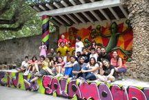 """Semana Joven de Sigüenza. Taller de Graffiti sobre pared. 17 de julio de 2013. / En la II Edición del taller de Graffiti sobre pared vamos a decorar el escenario del patio del C.I.J. """"la Salamandra""""."""