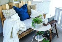Balcony Retreat / Furniture, fabric, layout, and color ideas for your outdoor balcony/patio at Meridian at Eagleview.
