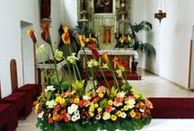 Flower arrangements / Flowers in church