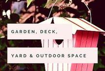 Garden, Deck, Yard & Outdoor Space / Having a space to breathe the fresh air and bring ourselves back to earth is important! Whether you have a tiny balcony, a cute patio or an enormous back yard, here are some beautiful ideas and inspiration to take into consideration. (We have a three tiered garden and yard space at the back, along with a porch, driveway and little garden to the front of our house - that's a lot of space to make pretty!)