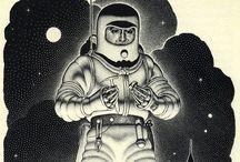 Virgil Finlay / Early 20th century Sci-fi artist.