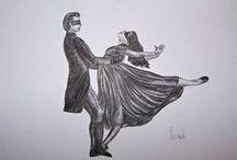 Hana Szarowski Drawings / Drawings by Hana Szarowski. Fashion, dance, ballet.