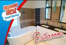 Bathrooms / Here at Heaven's Best we have trained our cleaning professionals on the proper tile and grout cleaning process. We know you will be happy with the results. Give us a call today. 832-724-4985