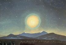 Rising /  Moonrise, sunrise, and the feeling of floating in uplifting art, mostly painting.