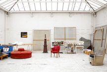 Studios / Creative spaces lit with purpose! I believe the studio is the most imortant tool the artist has, getting a glimpse into the studio is a glimpse into the soul. Plus, these are just some cool rooms!