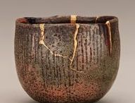"""Kintsugi / Kintsugi (金継ぎ?, きんつぎ, """"golden joinery""""), also known as Kintsukuroi (金繕い?, きんつくろい, """"golden repair""""), is the Japanese art of repairing broken pottery with lacquer dusted or mixed with powdered gold, silver, or platinum, a method similar to the maki-e technique. As a philosophy, it treats breakage and repair as part of the history of an object, rather than something to disguise. -- Wikipedia"""