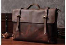 Leather Briefcase / Collections of Handmade Fashion Canvas & Leather Briefcase, Laptop bag, Messenger Bag, Handbag.