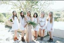 Bridesmaids / Cream / off-white lace dresses paired with tan leather / pleather shoes / boots. Loose curled hair with baby breath + olive leave flower crowns. Everyone should be dressed comfortably and the dresses should fit their body type.