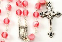 Pink and Red Rosary Beads / These quality pink & red rosaries have all been crafted by artisans and imported from Italy. Catholic Gifts