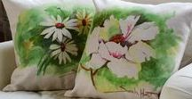 Lovely Artisan Pillows / This beautiful collection of throw pillows features the original watercolor designs of Sarah Hurst.  We feel very fortunate at Golden Hill Studio to have Sarah as our in-house watercolorist!