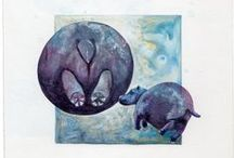 """Circle a Day Paintings / Little collage paintings from my """"Circle a day"""" series"""