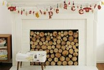 Fill-A-Space Ideas / Ideas for fireplaces filled with real white birch logs for decorative purposes