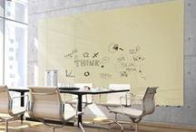 """Aria Low Profile Glassboards / Aria Low Profile Glassboards are the perfect dry erase surface for any modern office or business. Mounted so the board sits a 1/2"""" off the wall, Aria looks like it's floating. Choose from a variety of colors and sizes, and hang the board vertically, horizontally, or side by side to create a glass wall. Workplace design is more important today than ever before, and Aria Glassboards give you the opportunity to add some life to your space. It's about time to buy a board everyone will love."""