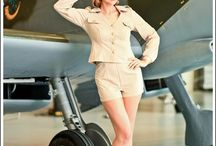 Vintage Pinup Flygirls / collection of #vintage looking pinup images with planes or aviation theme