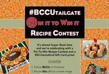 #BCCUtailgate Pin It to Win it Recipe Contest! / It's almost Super Bowl time & we're celebrating w/a Pin-To-Win Recipe Contest & a $50 Hannaford Gift Card prize! TO ENTER: 1. Follow BCCU 2. Re-pin our official contest image 3. Upload your favorite Super Bowl-themed appetizer & recipe before 2/2/2014 with hashtag #BCCUtailgate in your description! 4. Our BCCU judges will choose 3 recipes to prepare & taste! 5. Check back on 2/5/2014 to see if your recipe is the winner!