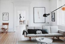 Home - Living room / Scandinavian light clean old and new minimal black white wood plants