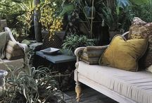 Garden. / Bohemian inspired garden decor.