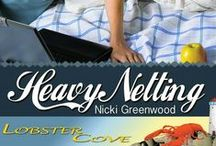 HEAVY NETTING by Nicki Greenwood / Branson Cudahy is a cyber crime investigator from happily-landlocked Lexington, Kentucky. When the trail of an elusive hacker leads him to sleepy Lobster Cove, Maine—and the arms of sassy and sweet Jenna Sanborn—what's a guy with a shellfish allergy to do? Visit http://www.nickigreenwood.com/books/excerpts/hn.html & related boards LOBSTER COVE and FIBER ARTS for more!
