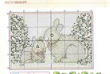 cross stitch rabbits