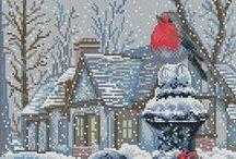 cross stitch robin