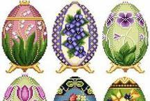 cross stitch eggs