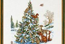 cross stitch christmas trees