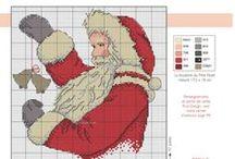 cross stitch santas