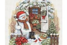 cross stitch snowmen
