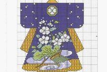 cross stitch kimono e oriente