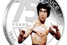 Bruce Lee Coins / Gold and silver commemorative coins celebrating the 75th Anniversary of martial arts icon Bruce Lee. ® & © Bruce Lee Enterprises, LLC.  All Rights Reserved
