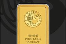 Minted Gold & Silver Bars / Pure gold and silver bars that are struck with a design.