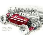 """My Books / A while ago, I published my first book limited edition book (of 50) entitled """"Silver Clouds: The 1934 Grand Prix"""", now sold out. I did the research, writing, illustration, design, packaging, hand-assembly and publishing of each book.  I've now launched my 2nd book, """"Ferrari in Art"""", which features the Ferrari motorsports history art that I've created over the years. All images © Paul Chenard"""