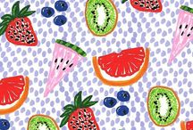 Fruits (illustrated, on paper) / Ananas, fruits, illustrations,