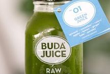 Buda Juice Products / Never processed or pasteurized in any way nor contaminated by pesticides or chemicals, each hand-squeezed bottle of Buda Juice® is full of nutrients, enzymes, vitamins, and raw energy just as nature intended. But more than that, Buda Juice® is a mindset, a way to re-set, energize and Restore Body & Soul®.