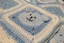 Blue Teddy Baby Blanket / Lindsay's commissioned baby blankets for baby shower gifts.