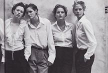 A monochrome of people and clothes,and like as monochrome of people and clothes. / A lot of Peter Lindbergh became