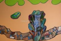 Sue Betanzos | Public Art / Public art mosaic murals with glass mosaic, reverse glass paintings and mixed media.