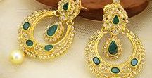 """Chand Bali Style- Bollywood Inspired / Most of us envy the #celebrity styles we see on the TV and movie screens. Now you can recreate these """"looks"""" with extravagant #earring designs from Raj Jewels. #DeepikaPadukone is a beautiful #Bollywood actress & fashion icon that brought the Chand Bali earrings into the spotlight in 2013.  Shop from our assorted collection of #ChandBalis in stunning designs studded with gemstones, uncut diamonds or pearls in #22k #gold: http://bit.ly/1APjx5q"""